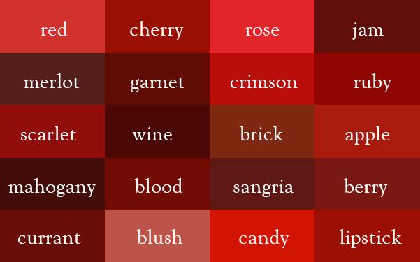 การเรียกชื่อทุกเฉดสีเป็นภาษาอังกฤษที่ถูกต้อง