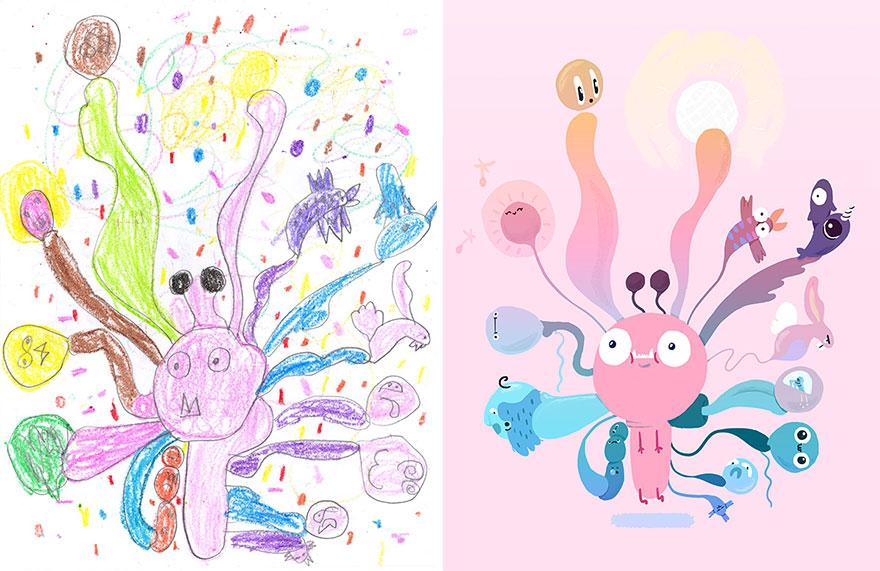 น่ารัก! ภาพวาดสัตว์ประหลาดของเด็กๆ เมื่อถูกวาดใหม่โดยศิลปินมืออาชีพ