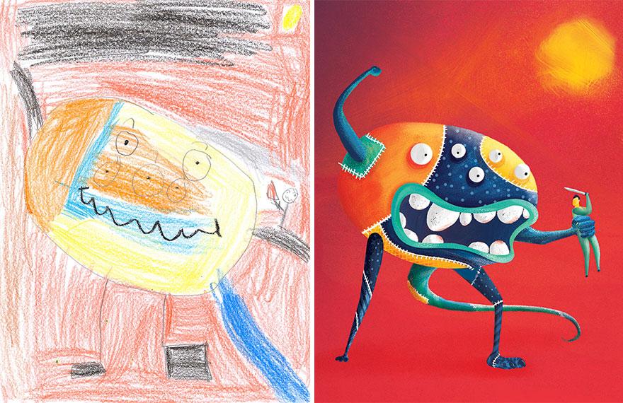 The Monster Project จินตนาการ ภาพน่ารัก ภาพวาดเด็กๆ ศิลปะ