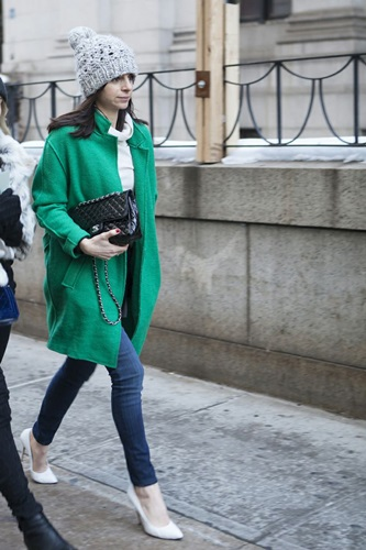 Street Style during New York Fashion Week throughout the city during February 6-13, 2014.