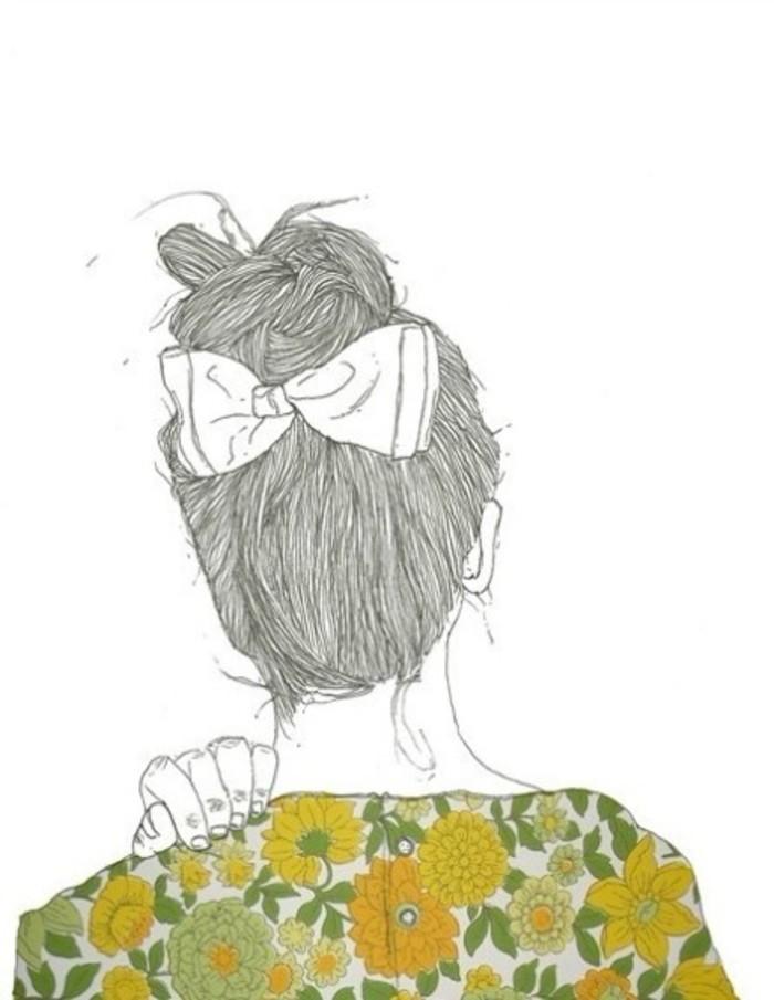 ภาพพื้นหลังมือถือ ผู้หญิงหันหลังรูปวาดลายเส้น