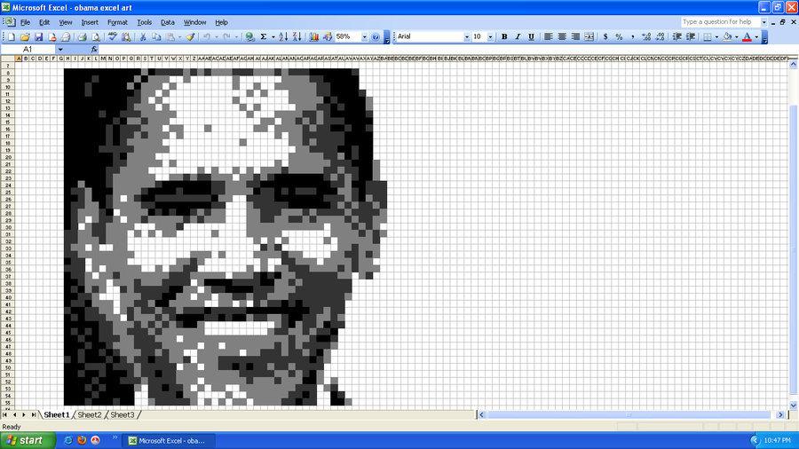 ภาพสวยๆ ที่วาดภาพด้วยโปรแกรม Excel