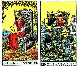Queen of Pentacles , King Of Pentacles