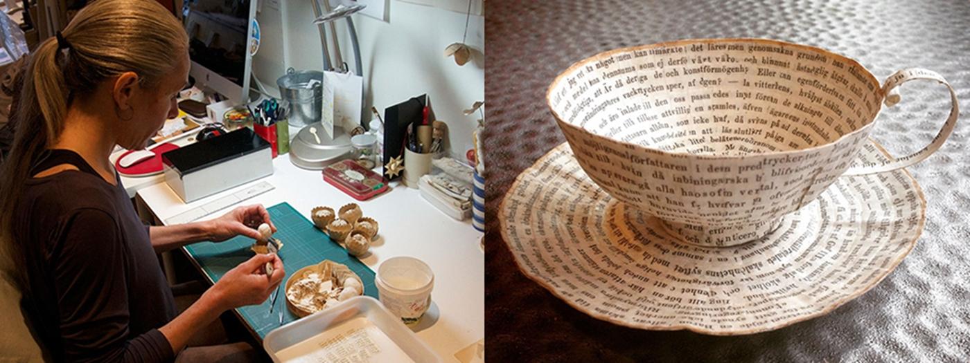 สวยงาม!แก้วน้ำชาจากหนังสือเก่า ไอเดียของศิลปินสาวสวีเดน ปก