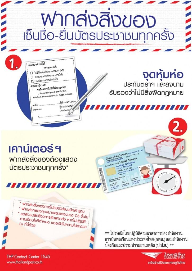 ขอความร่วมมือ ส่งพัสดุ-ไปรษณีย์ ต้องแสดงบัตรประชาชน เริ่ม 8 เม.ย. 2559