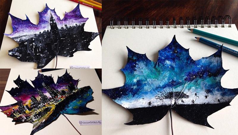 ภาพวาด ศิลปะ ใบไม้