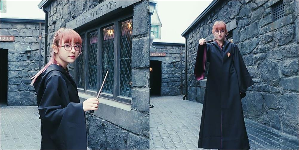 น่ารัก! พลอยชมพู ในลุคแม่มดสาววัยใส ใส่ชุดคลุม แฮรี่ พอตเตอร์