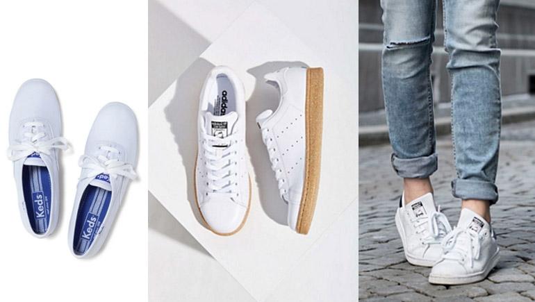 รองเท้า รองเท้านักศึกษา รองเท้าผ้าใบ รองเท้าผ้าใบสีขาว เฟรชชี่