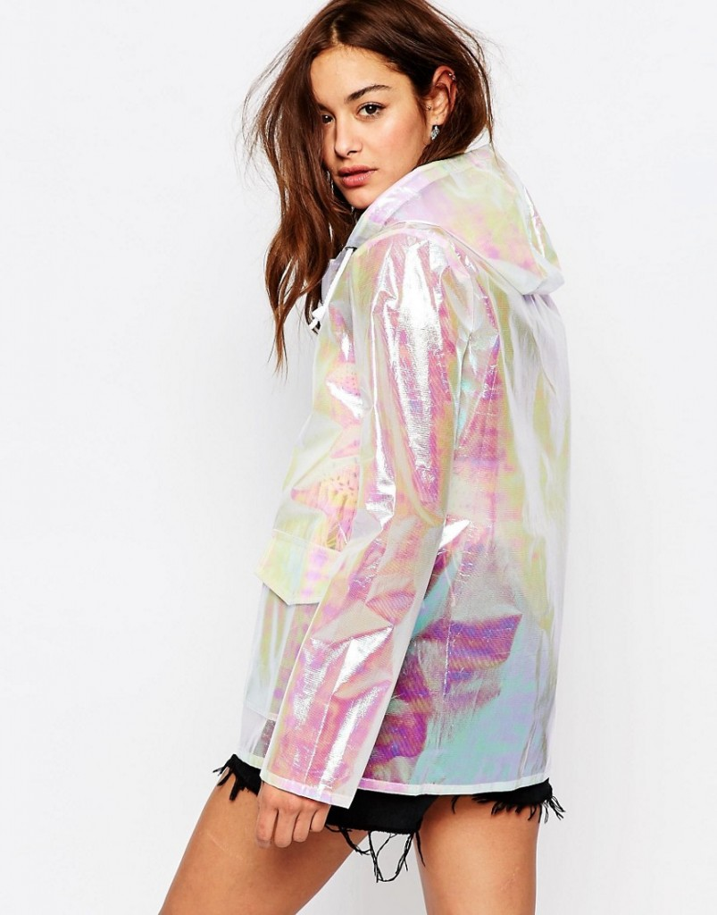 Missguided Holographic Raincoat asos