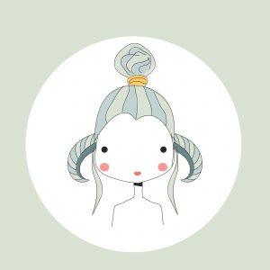Horoscope Aries sign, girl head