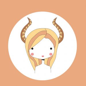 Horoscope Capricorn sign, girl head