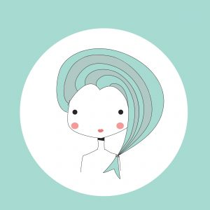 Horoscope Pisces sign, girl head