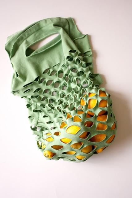 DIY ถุงใส่ผักผลไม้ จากเสื้อเก่าๆ