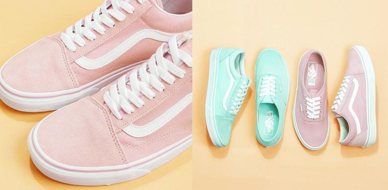 Sneakers vans รองเท้า รองเท้าผ้าใบ สีพาสเทล