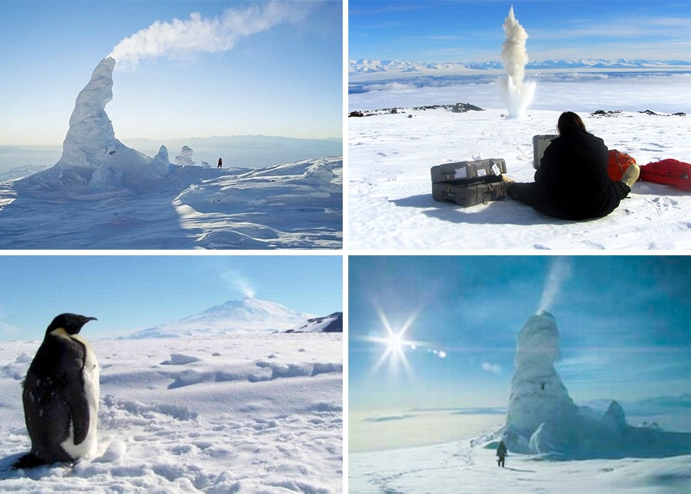 2 An Antarctic volcano and its snow pipes