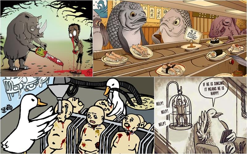 animals ภาพเสียดสี ภาพเสียดสีสังคม มนุษย์ สัตว์