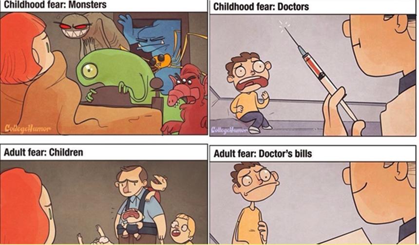 ความกลัว ความแตกต่าง ผู้ใหญ่ ภาพการ์ตูน เด็ก