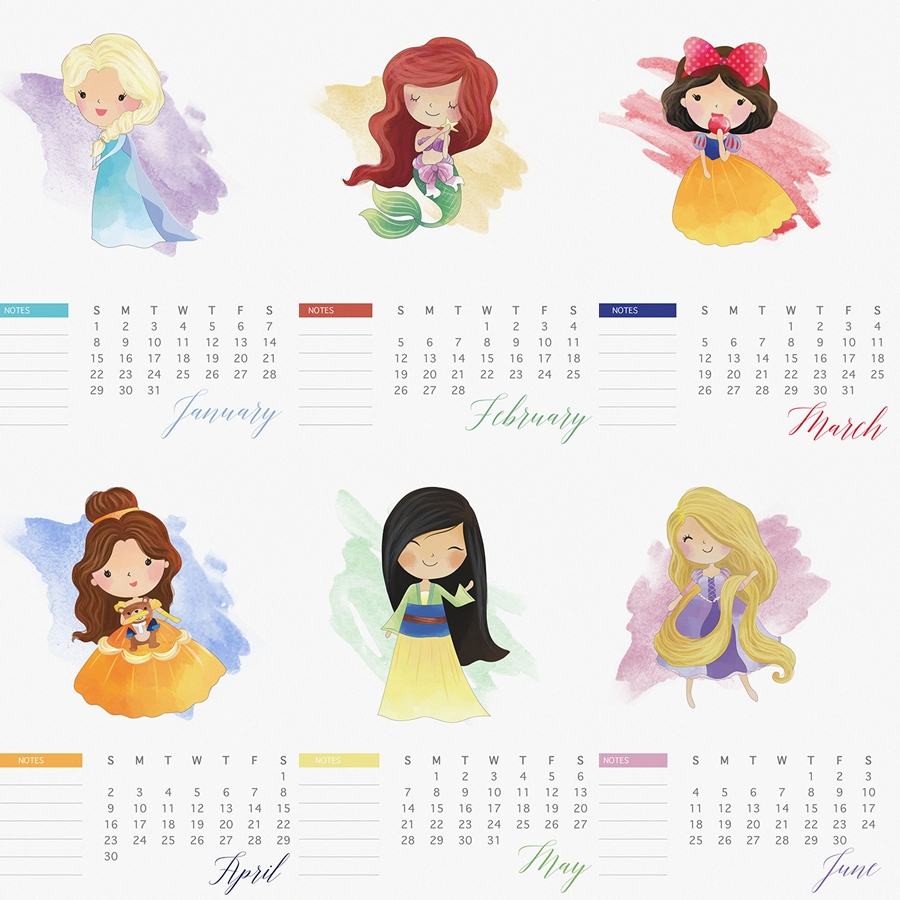 2017 Watercolor Princess Calendar