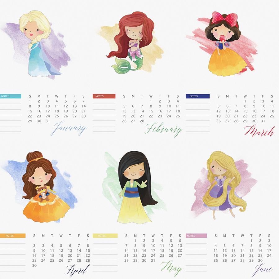 2017 Watercolor Princess Calendar