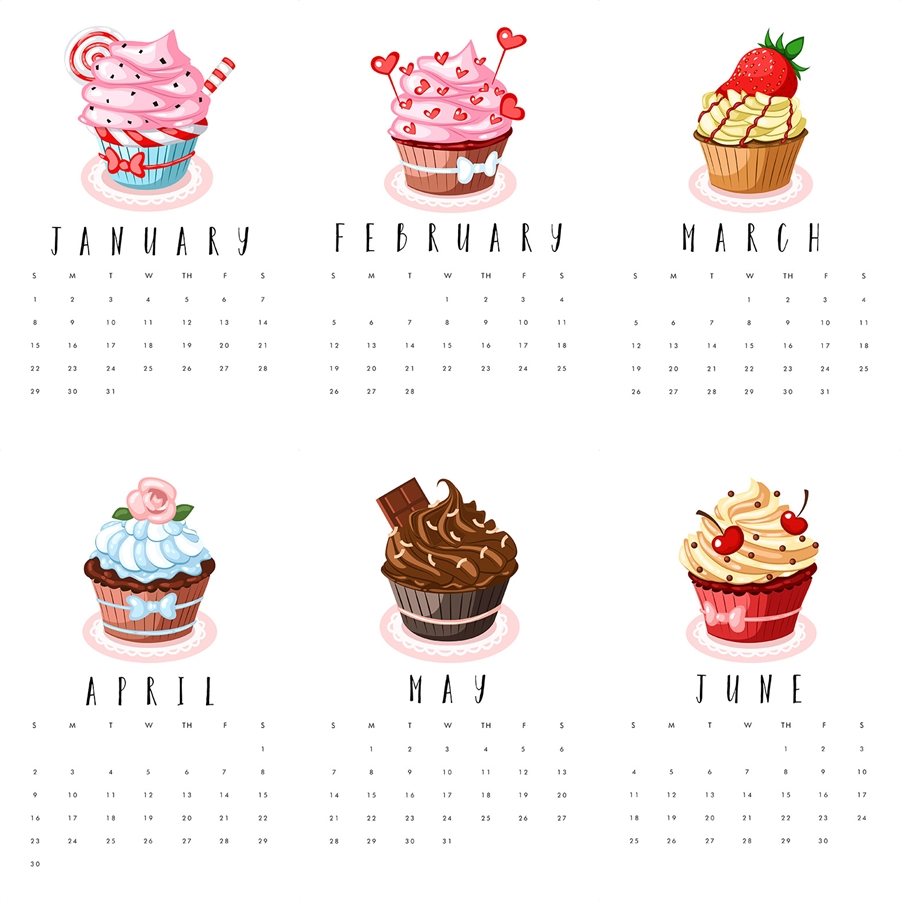 2017Calendars cupcake