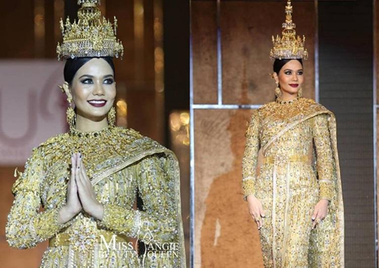 Jewel of Thailand Miss Universe Thailand ชุดไทย น้ำตาล ชลิตา