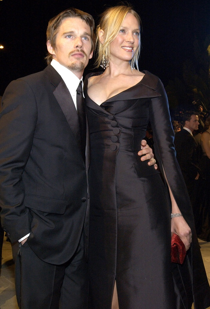 Ethan Hawke (L) and Uma Thurman (R) at the Vanity Fair Oscar 2002 After Party at Mortons. West Hollywood, CA 03/24/2002 (Fashion Wire Daily)