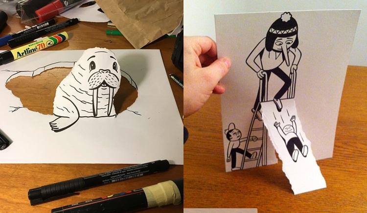 ผลงานศิลปะสุดครีเอท จากการวาด ตัด ฉีก แปะ กระดาษ