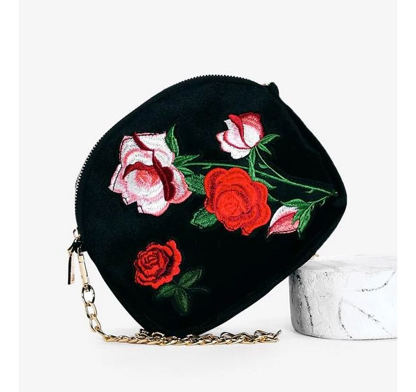 Want, Louise Embroidered Velvet Bag