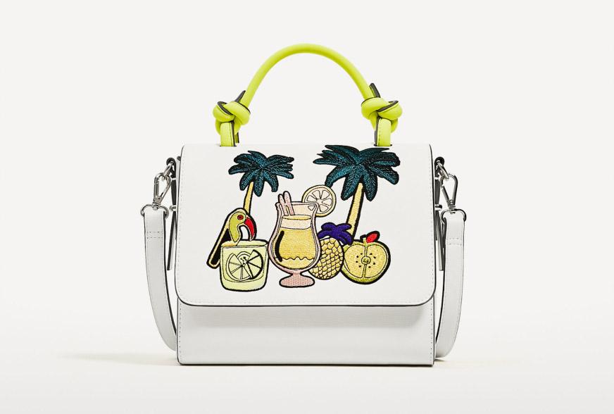 Zara, Embroidered Tropical City Bag
