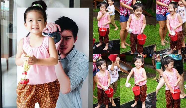 ชุดไทย ดาราเด็ก น้องมะลิ ปอ ทฤษฎี วันสงกรานต์ เด็กน่ารัก โบ แวนด้า