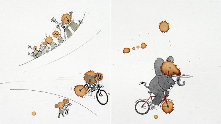 การ์ตูน ขี่จักรยาน คราบกาแฟ ชาวเยอรมัน