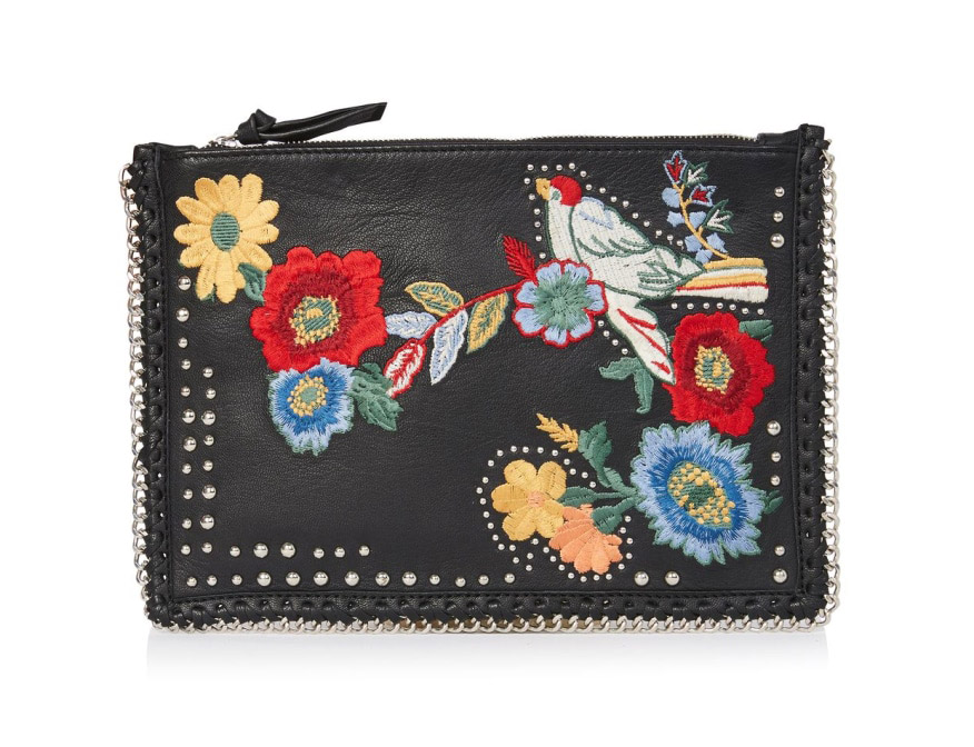 Topshop, Leather Embroidered Cross Body Bag