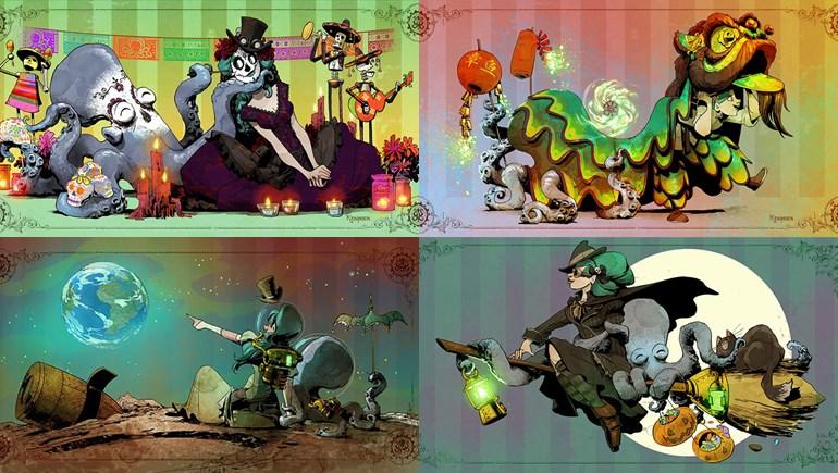 ดิสนีย์ ภาพวาดการ์ตูน เจ้าหมึกยักษ์