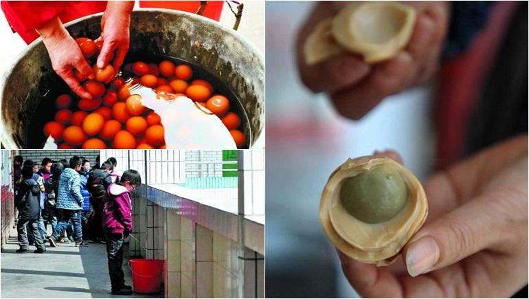 ประเทศจีน เด็กผู้ชาย ไข่ต้มฉี่ ไข่ต้มปัสสาวะ