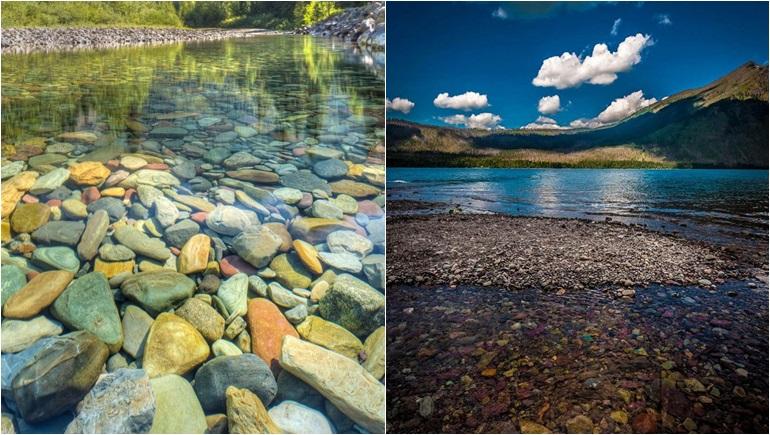 ก้อนหินสี ทะเลสาบ ธรรมชาติ