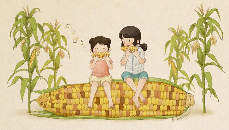 พี่น้อง ภาพวาดการ์ตูน ศิลปินวาดภาพ เกาหลี เกาหลี
