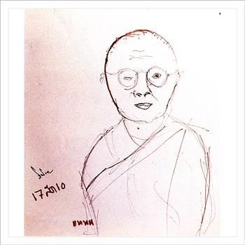 """ภาพวาด """"แหนน"""" ของสมเด็จพระเทพฯ ลงวันที่ 17 สิงหาคม 2510"""