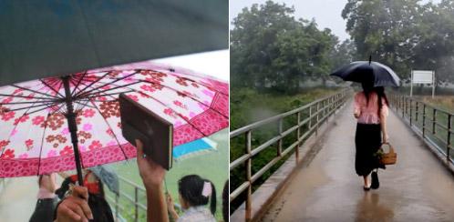 ฉากฝนตกที่นวลจันทร์เดินข้ามสะพาน