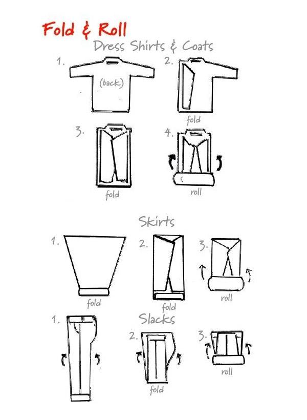 วิธีม้วนเสื้อแขนขาว กระโปรง และ กางเกางขายาว