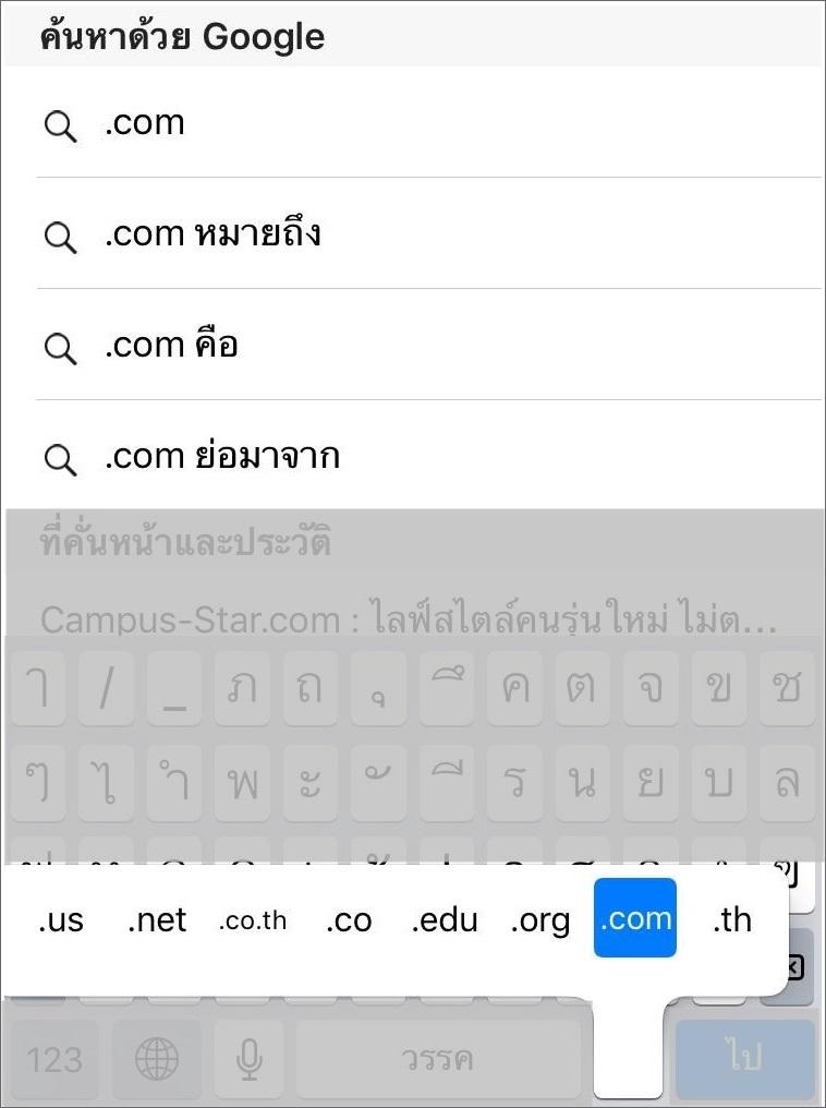 พิมพ์ .com ช้า ก็กด . ค้างไปเลยง่ายกว่า