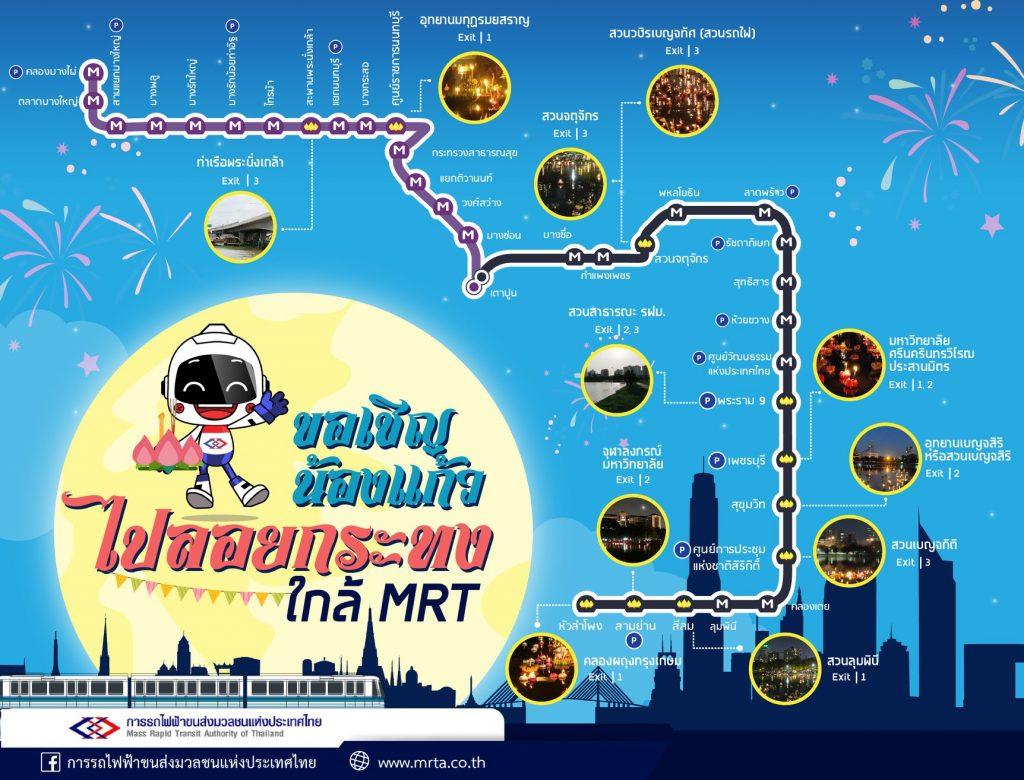 ลอยกระทง ตามแนวเส้นทางรถไฟฟ้า MRT