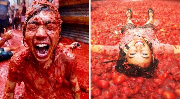 เทศกาลปามะเขือเทศ หรือ La Tomatina ประเทศสเปน