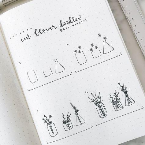 วิธีวาดแจกันดอกไม้ ขวดใส