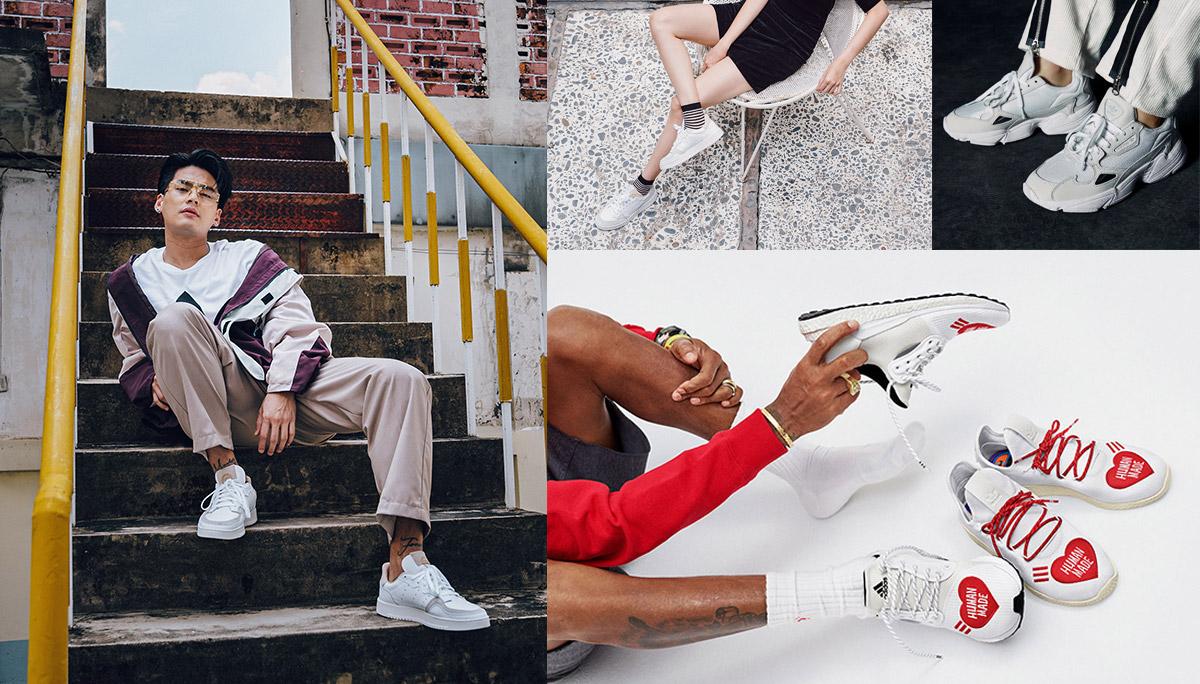adidas รองเท้า รองเท้าผ้าใบ รองเท้าผ้าใบสีขาว อาดิดาส