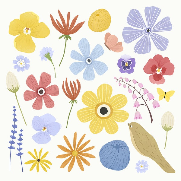 Colorful flower design element set on a beige background vector