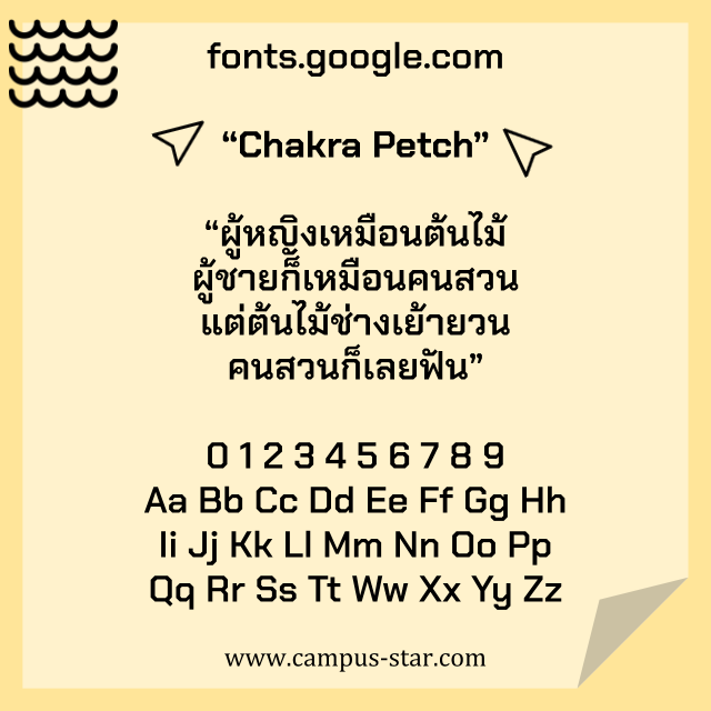 ตัวอย่างฟอนต์ภาษาไทย จาก Google - Chakra Petch