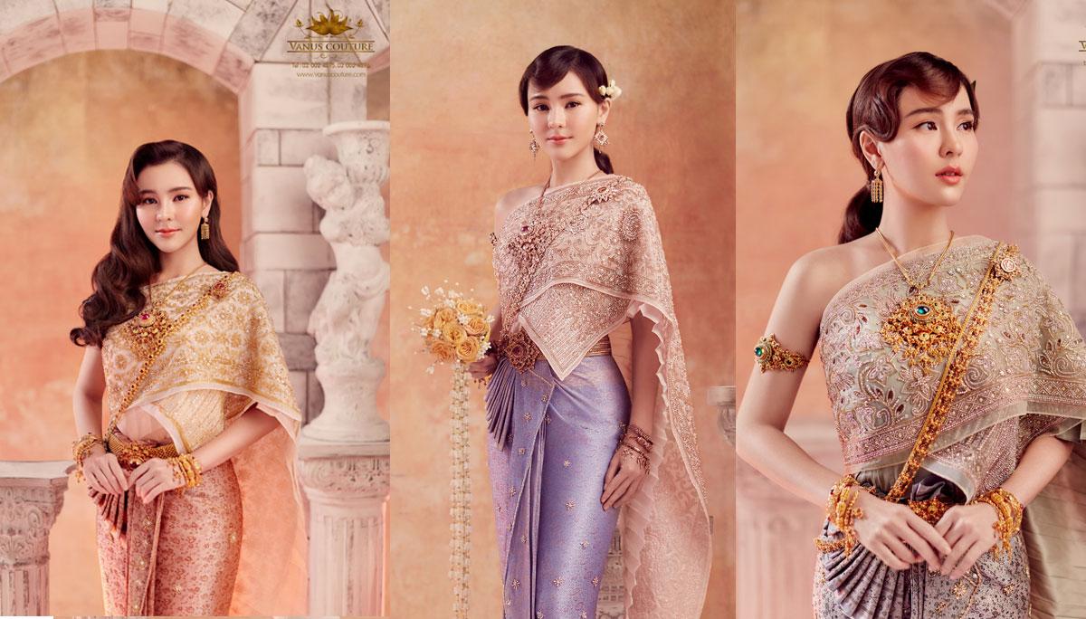 ชุดไทย ชุดไทยประยุกต์ ดาราใส่ชุดไทย ห้องเสื้อ วนัช กูตูร์ ออม-สุชาร์