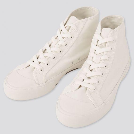 Cotton Canvas High Cut Sneakers รองเท้าสีขาว SNEAKER