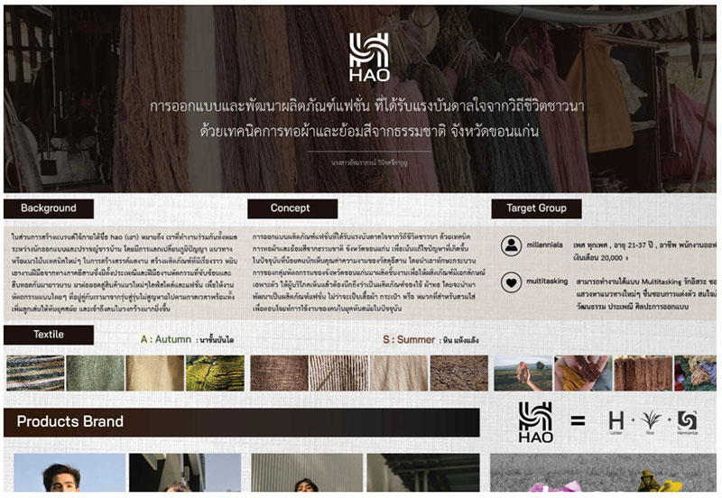 Hao - ผลิตภัณฑ์แฟชั่นที่ได้รับแรงบันดาลใจจากวิถีชีวิต